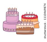 birthday cake design | Shutterstock .eps vector #1110469874