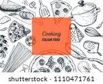 italian cuisine hand drawn... | Shutterstock .eps vector #1110471761