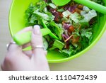fresh mixed salad with... | Shutterstock . vector #1110472439
