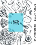 italian pizza cooking and... | Shutterstock .eps vector #1110472601