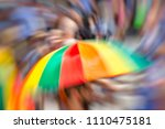 Small photo of Gay Pride Parade in Tel Aviv, abstract motion blur effect