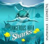 sea depth with dangerous sharks | Shutterstock .eps vector #1110482741