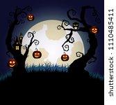 halloween night background.... | Shutterstock .eps vector #1110485411