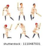 sport players of cricket.... | Shutterstock .eps vector #1110487031