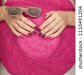 beautiful woman hands with... | Shutterstock . vector #1110491204