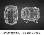 wooden barrels of wine or beer. ... | Shutterstock .eps vector #1110492461