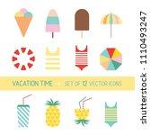 vector set of cute vacation... | Shutterstock .eps vector #1110493247