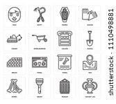 set of 16 icons such as ancient ...