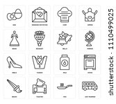 set of 16 icons such as just...