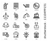 set of 16 icons such as bank ... | Shutterstock .eps vector #1110499151