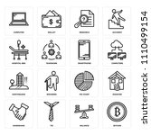 set of 16 icons such as bitcoin ...