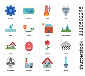 set of 16 icons such as shovel  ...