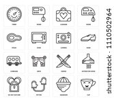 set of 16 icons such as cup ...