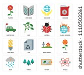 set of 16 icons such as physics ...