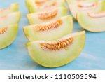 fresh organic melon background  | Shutterstock . vector #1110503594