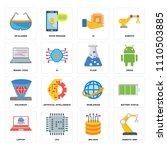 set of 16 icons such as robotic ...