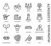 set of 16 icons such as ticket  ...