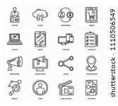 set of 16 icons such as keyword ... | Shutterstock .eps vector #1110506549
