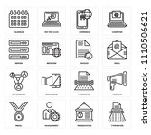 set of 16 icons such as... | Shutterstock .eps vector #1110506621