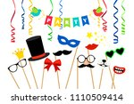 carnaval party accessories.... | Shutterstock .eps vector #1110509414