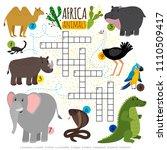 african animals crossword.... | Shutterstock .eps vector #1110509417