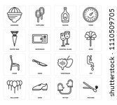 set of 16 icons such as matches ...