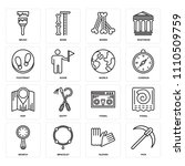 set of 16 icons such as pick ...