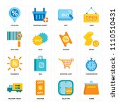 set of 16 icons such as purse ...