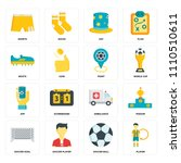 set of 16 icons such as player  ...