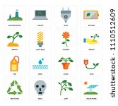 set of 16 icons such as solar...