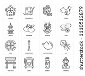 set of 16 icons such as emperor ...