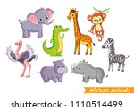 set with animals of africa in...   Shutterstock .eps vector #1110514499