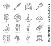 set of 16 icons such as pot ...