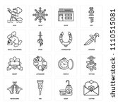 set of 16 icons such as letter  ... | Shutterstock .eps vector #1110515081