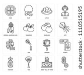 set of 16 icons such as yuan ...