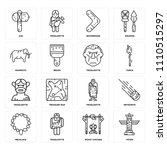 set of 16 icons such as totem ... | Shutterstock .eps vector #1110515297