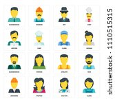 set of 16 icons such as clerk ... | Shutterstock .eps vector #1110515315