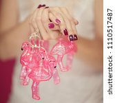 beautiful woman's hands with... | Shutterstock . vector #1110517487