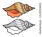 cartoon sea shell isolated on...   Shutterstock .eps vector #1110524654