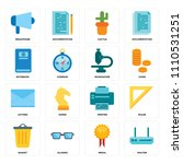 set of 16 icons such as router  ...