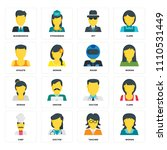 set of 16 icons such as woman ... | Shutterstock .eps vector #1110531449