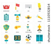 set of 16 icons such as lockers ...