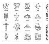 set of 16 icons such as dolmen  ...