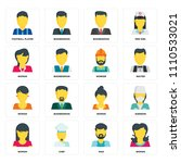 set of 16 icons such as woman ...   Shutterstock .eps vector #1110533021