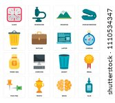 set of 16 icons such as glue ...