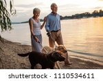 Stock photo shot of a happy senior couple walking by the river with their dogs 1110534611