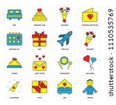 set of 16 icons such as groom ...