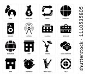 set of 16 icons such as helm ...