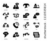 set of 16 icons such as... | Shutterstock .eps vector #1110535814