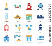 set of 16 icons such as school... | Shutterstock .eps vector #1110537524